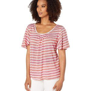 Bobeau Collection NWT flutter sleeve striped top L